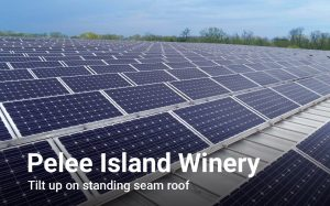 Photo with text of solar panel array at Pelee Island Winery.